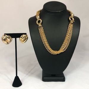 Jewelry - Gold Multi Link necklace and Earring Set